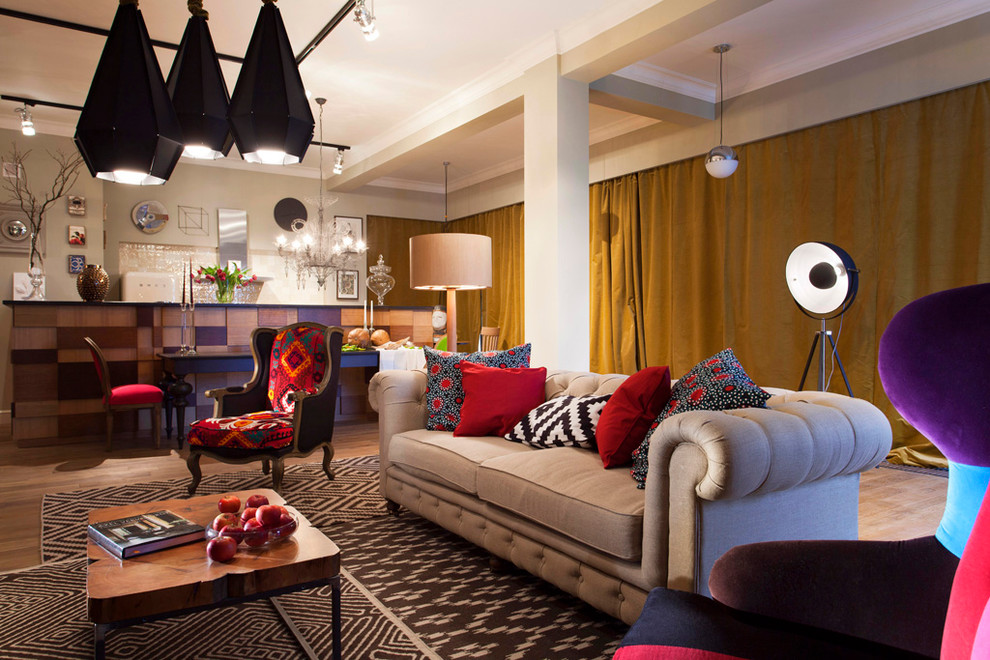 Wingback Recliner Living Room Eclectic with Area Rug Armchair Bar Beige Painted Wall Bright Colors Ceiling Treatment Chair