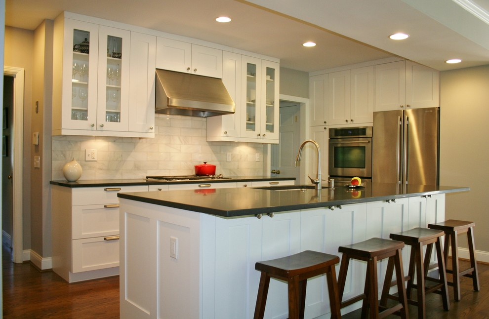 Winsome Wood Kitchen Contemporary with Bin Pulls Caesarstone Double Oven Drywall Soffit Glass Cabinet Doors Glass Doors