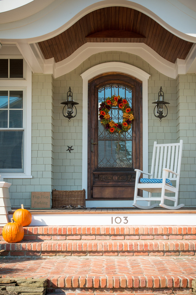 Wired Doorbell Entry Beach with Arched Door Autumn Decor Azek Brick Steps Cedar Shake Copper Custom Front