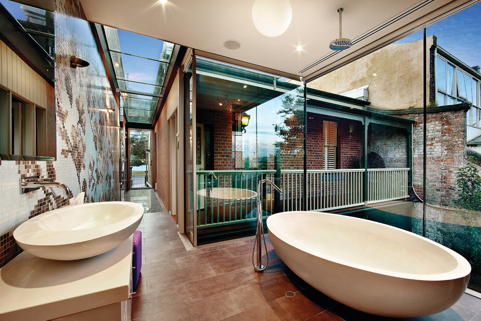 Wireless Ceiling Light Bathroom Contemporary with Brick Freestanding Tub Glass Ceiling Glass Wall Hall Open Concept Rain Showerhead