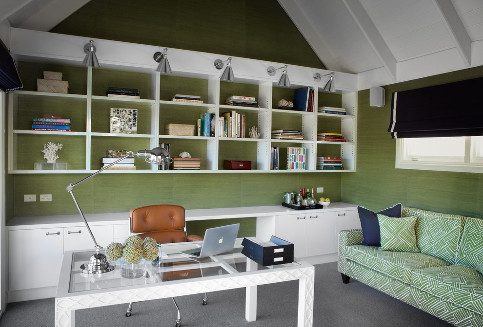 Wireless Ceiling Light Home Office Traditional with Bright Colors Desk Green Interior Wallpaper Open Shelves Sofa Task Chair Task