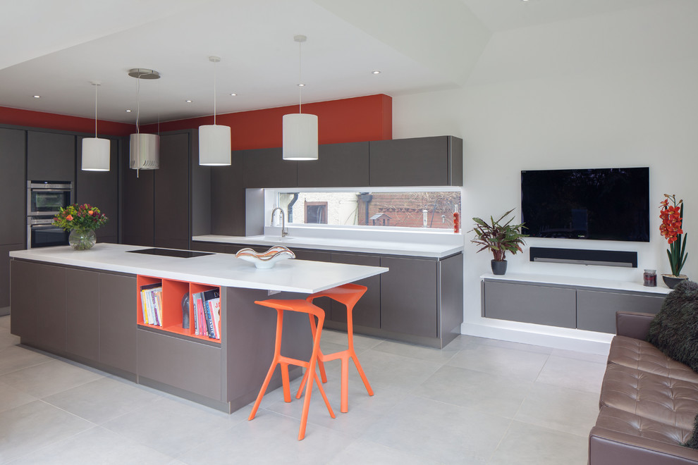 wireless ceiling light Kitchen Contemporary with bespoke contemporary kitchen cylinder lampshades grey grey cabinets grey stone floor induction