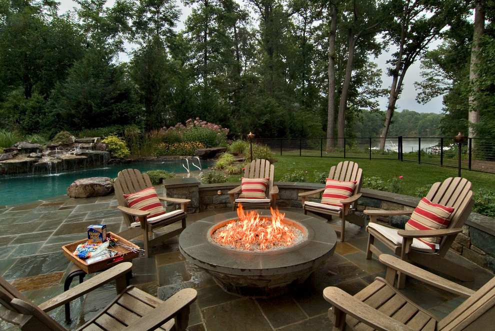 Wood Adirondack Chairs Patio Traditional with Adirondack Chair Cable Fence Cable Railing Fire Pit Grass Lawn Pergola Pool