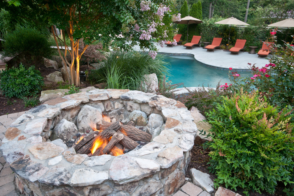 Wood Burning Fire Pit Landscape Traditional with Backyard Brick Patio Chaise Lounge Outdoor Cushions Patio Furniture Patio Umbrella Pool