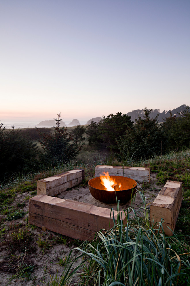Wood Burning Fire Pit Patio Beach with Beach House Butt Benches Coast Evergreen Fire Pit Haystack Modern Sublime Water