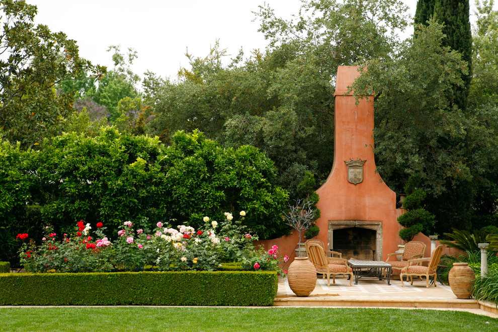 Wood Burning Fire Pit Patio Mediterranean with Bold Fireplace Furniture Hardscape Hedge Italian Landscape Outdoor Outside Paving Planting Pot