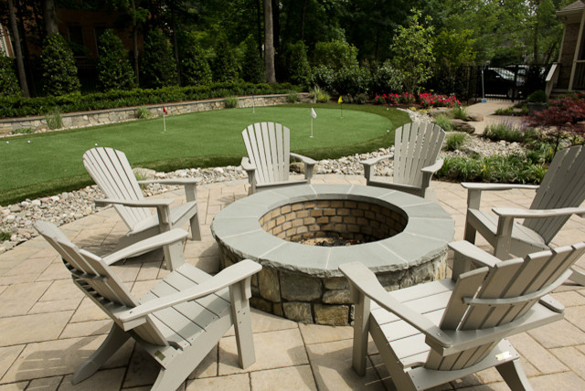 wood burning fire pit Pool Traditional with landscaping paver patio putting green wood burning fire pit