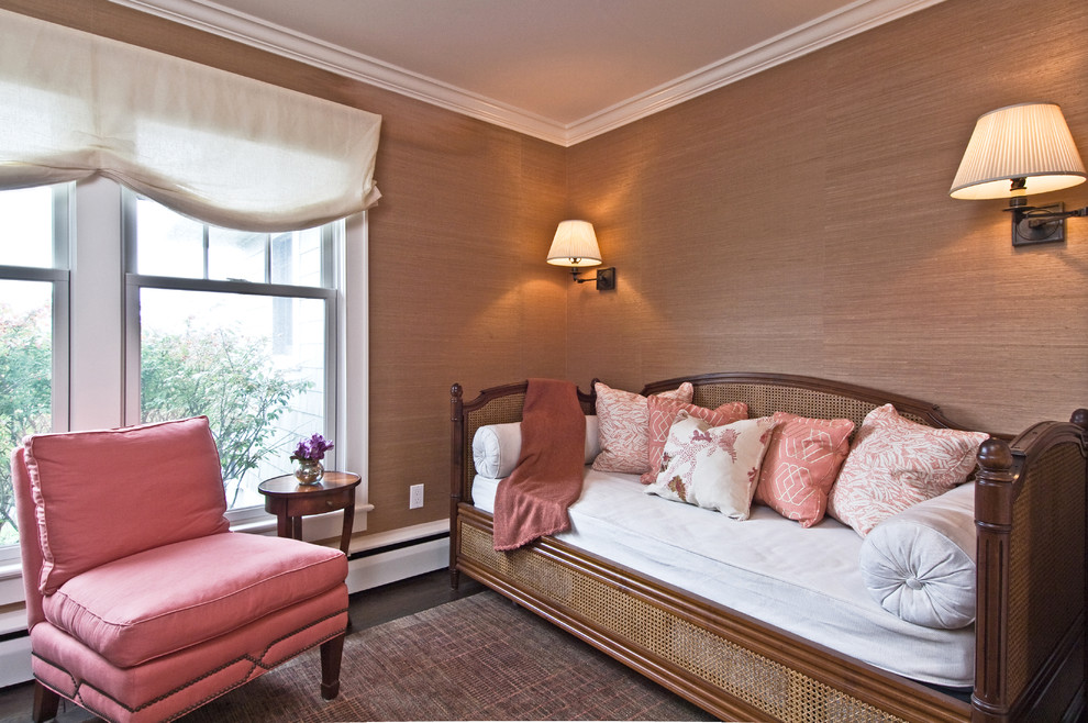 Wood Daybed Bedroom Eclectic with Area Rug Baseboard Bolster Coral Crown Molding Day Bed Pink Printed Pillows