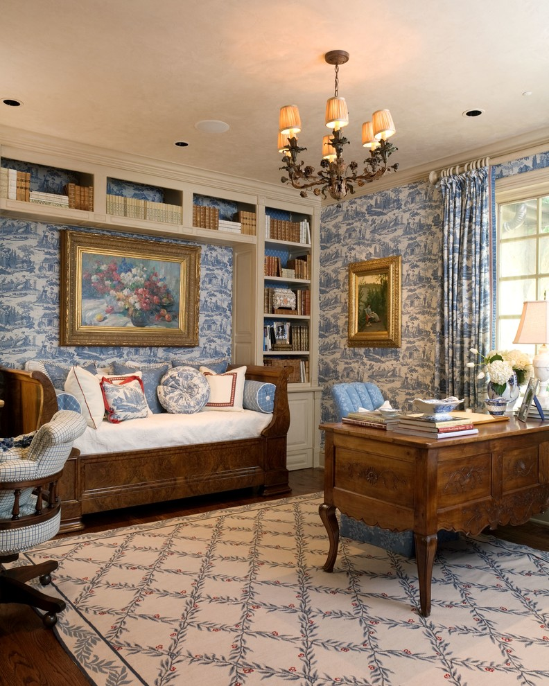 Wood Daybed Home Office Mediterranean with Beige Patterned Rug Beige Shelves Blue Patterned Curtain Blue Patterned Wallpaper Blue