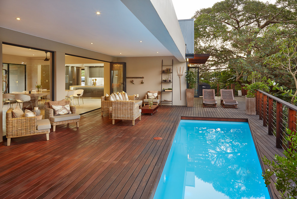 Wood deck tiles pool contemporary with indooroutdoor long for Garden city pool 2015