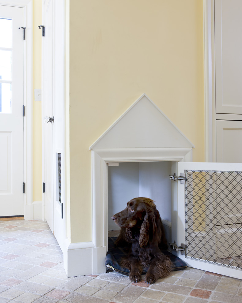 Wood Dog Crate Entry Traditional with Brick Floors Dog Dog Door Dog House Hallway Mudroom Yellow Walls
