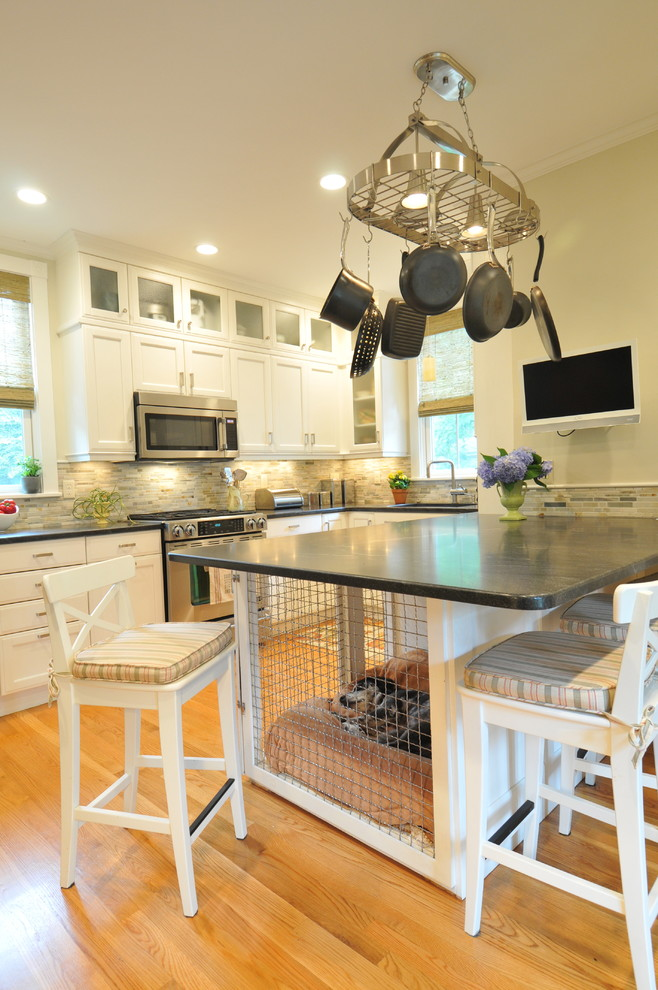 wood dog crate Kitchen Transitional with black granite breakfast bar ceiling lighting counter stools dog dog den eat-in