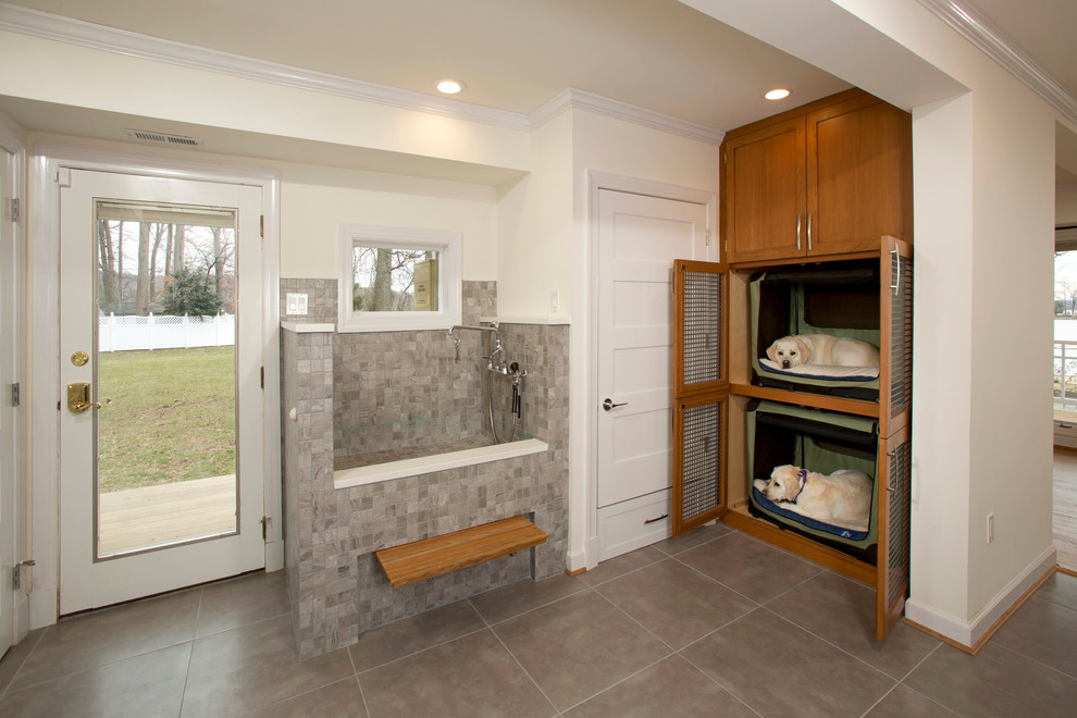 Wood Dog Crate Laundry Room Transitional with Built in Cabinets Dog Beds Dog Shower Folding Bench Glass Door Gray