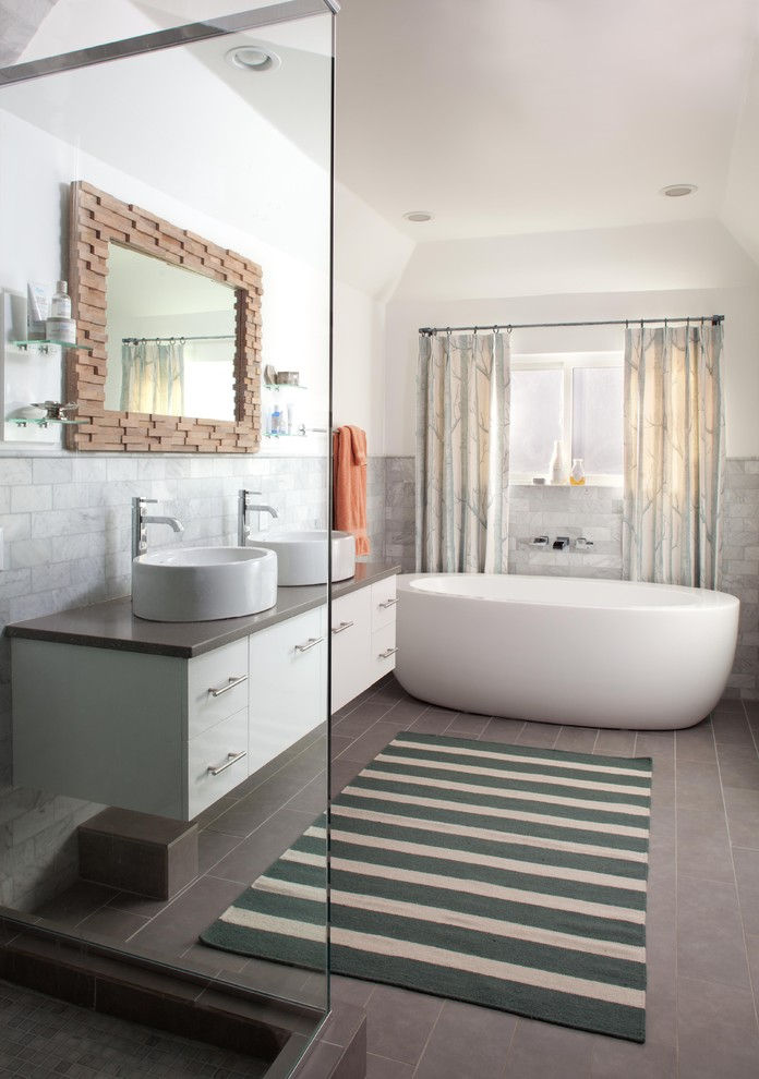 Wood Framed Mirrors Bathroom Eclectic with Above Counter Sink Gray Floor Gray Tile Backsplash Halfwall Patterned Curtains Round