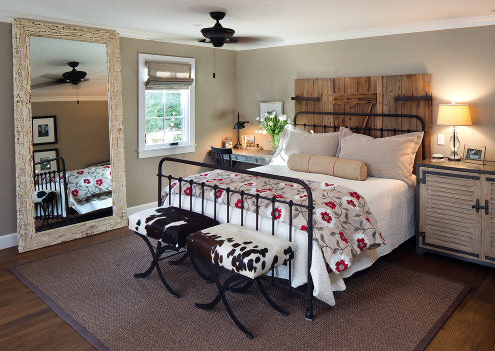 Wood Framed Mirrors Bedroom Farmhouse with Animal Print Beach Bed Bench Ceiling Fan Cow Print Equestrian Farmhouse Floor