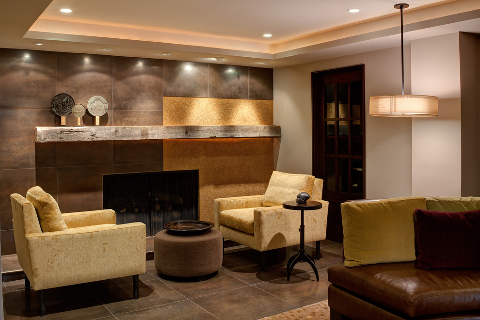 Wood Mantels Basement Contemporary with Corner Door Earth Tones Fireplace Mantle Pendant Light Recessed Lights Side Table