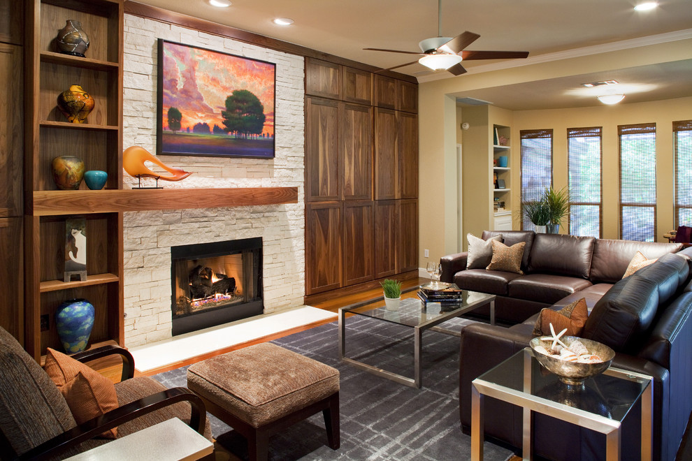 Wood Mantels Living Room Contemporary with Area Rug Built in Shelves Built in Storage Ceiling Fan Ceiling Lighting