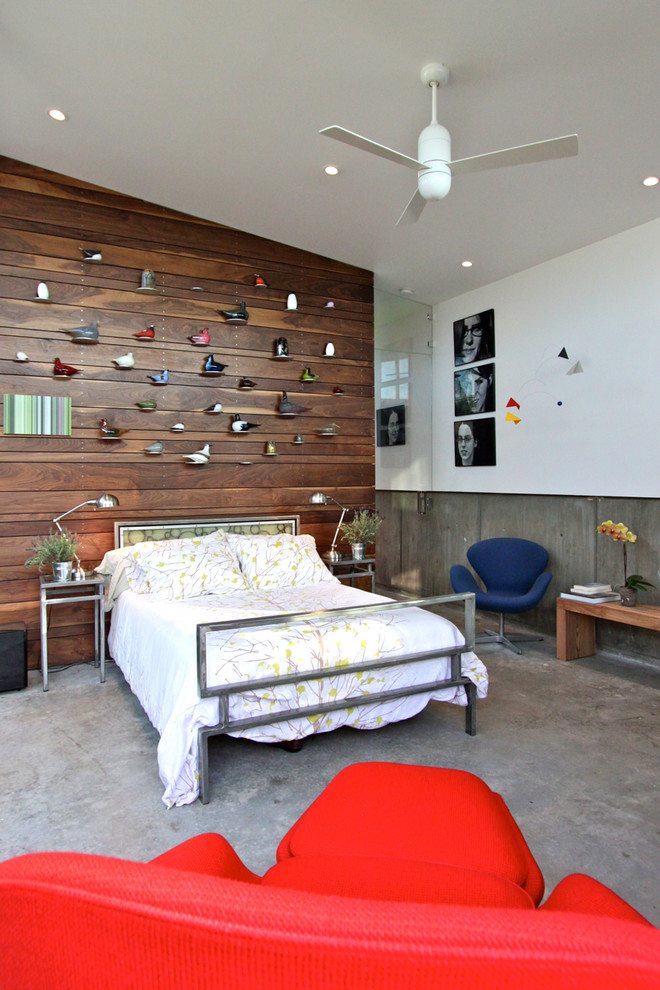 Wooden Bird Houses Bedroom Contemporary with Blue Chair Ceiling Fan Glass Wall Metal Bed Frame Recessed Lighting Red