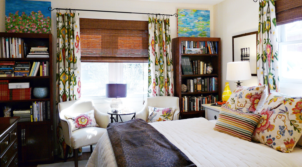 Wooden Bookshelves Bedroom Eclectic with Bedroom Makeover Bookcase Colorful Colorful Bedroom Curtains Decorative Pillows Drapes Floral Ikat
