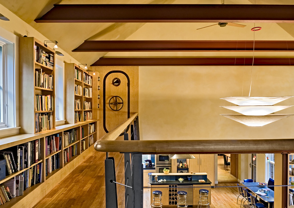 Wooden Bookshelves Hall Contemporary with Balcony Banister Bookcase Bookshelves Built Ins Ceiling Treatment Chandelier Exposed Beams Faux
