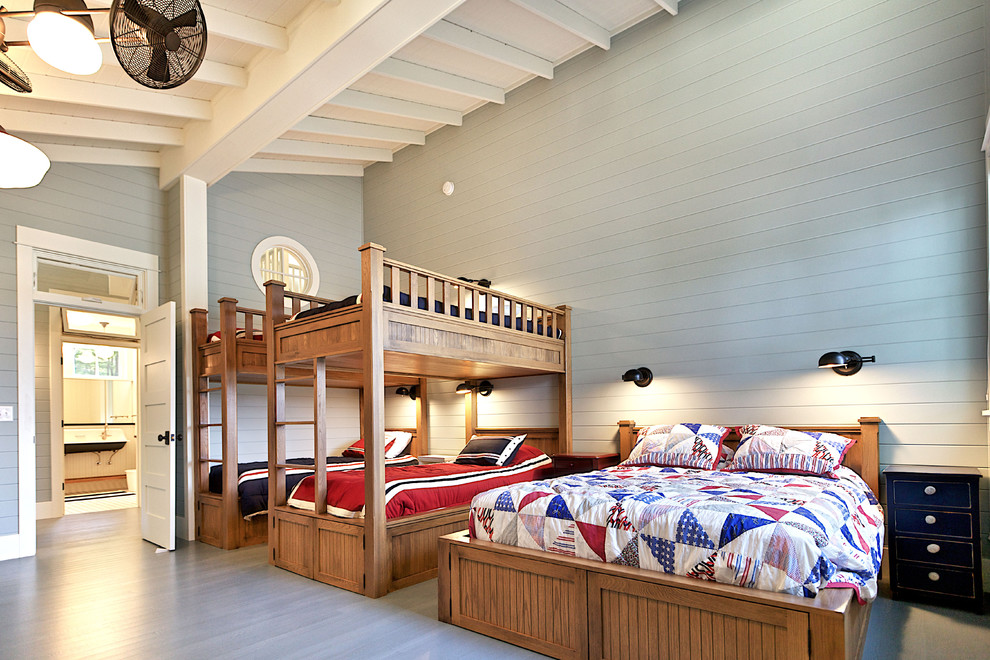 Wooden Bunk Beds Kids Rustic with Beadboard Bed Bedding Bunk Bed Ceiling Fan Cottage Craftsman Painted Beadboard Round