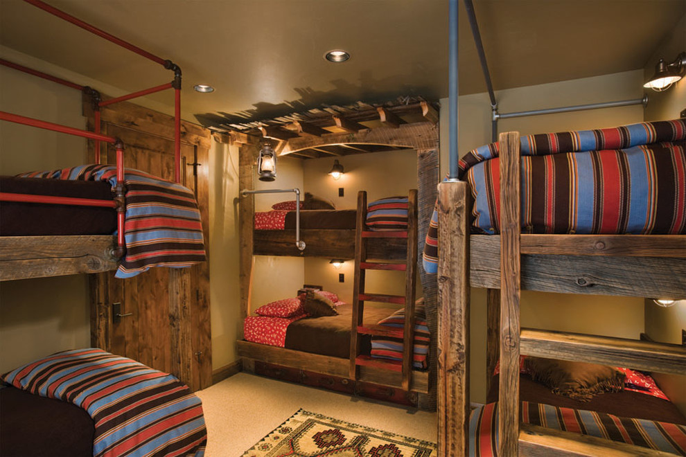 Wooden Bunk Beds Kids Transitional with Bunk Beds Bunk Room Industrial Lanterns Lodge Painted Ceiling Pipes Shared Bedroom