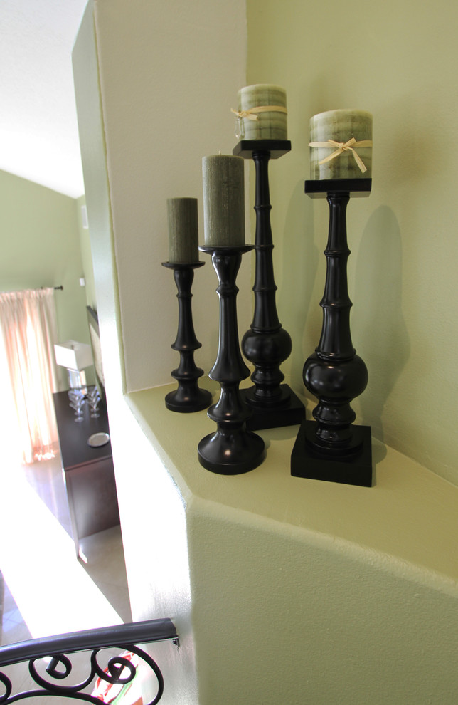 wooden candle holders Entry Contemporary with black wooden candle holders green candles green wall color