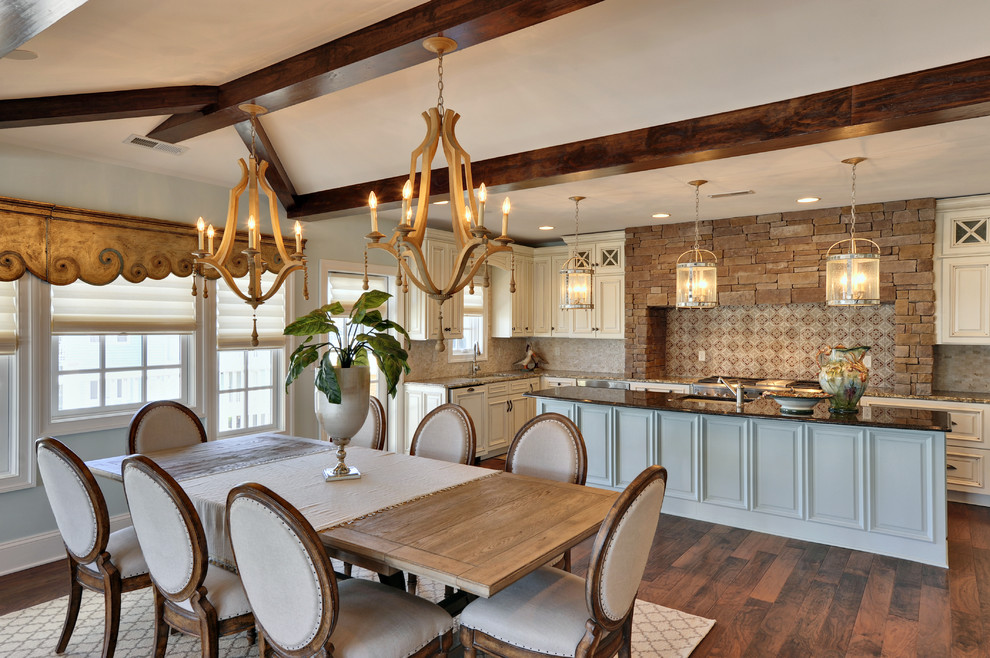 Wooden Chandeliers Dining Room Traditional with Blue and White Cabinets Chandeliers Dining Table Multi Colored Cabinets Upholstery Dining