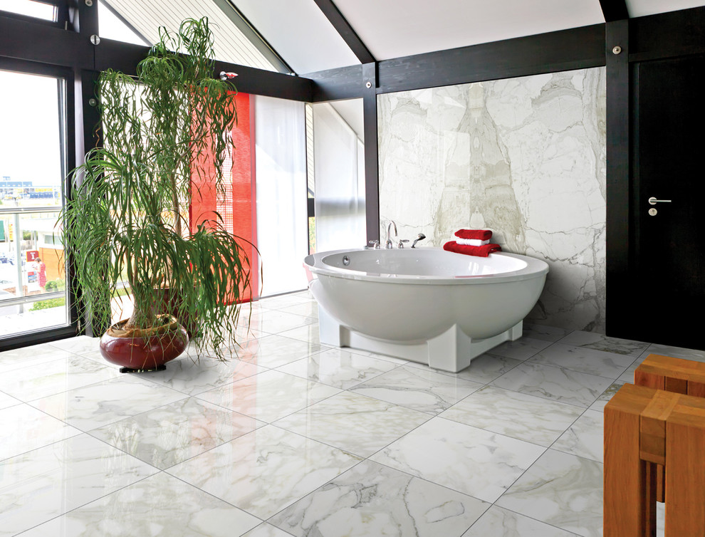 Wooden File Cabinet Bathroom with Black Beams Large Windows Marble Plants Red Accents White Tile Floor White