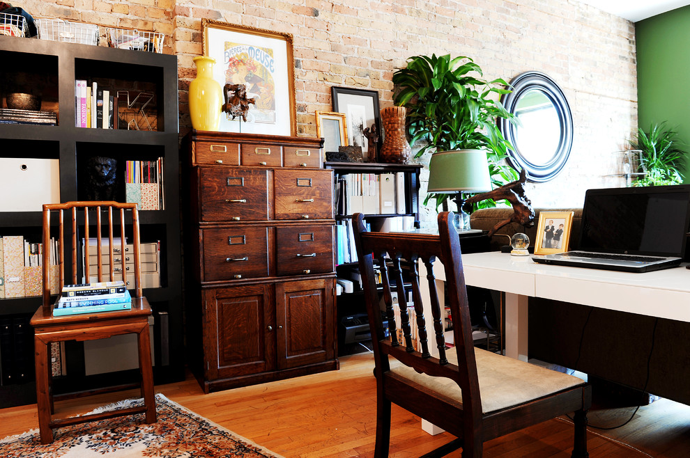 Wooden Filing Cabinets Home Office Eclectic with Black Bookshelves Color Eclectic Exposed Brick Global Houseplant Round Mirror Tribal Vintage