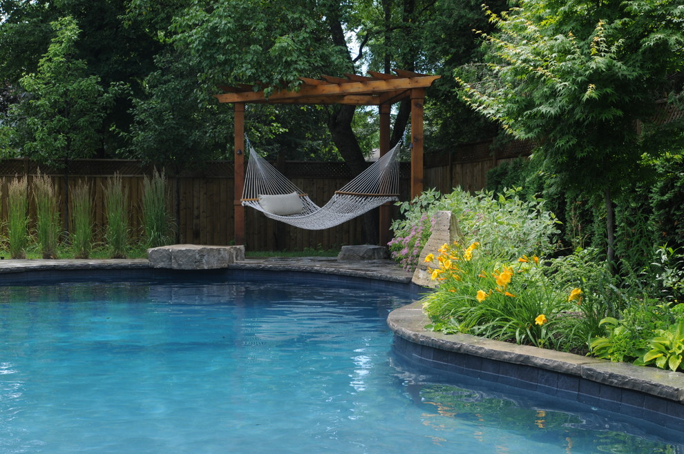 Wooden Hammock Stand Pool Traditional with Day Lilies Design a Pool Toronto Hammock Outdoor Living Space Pergola Pool2