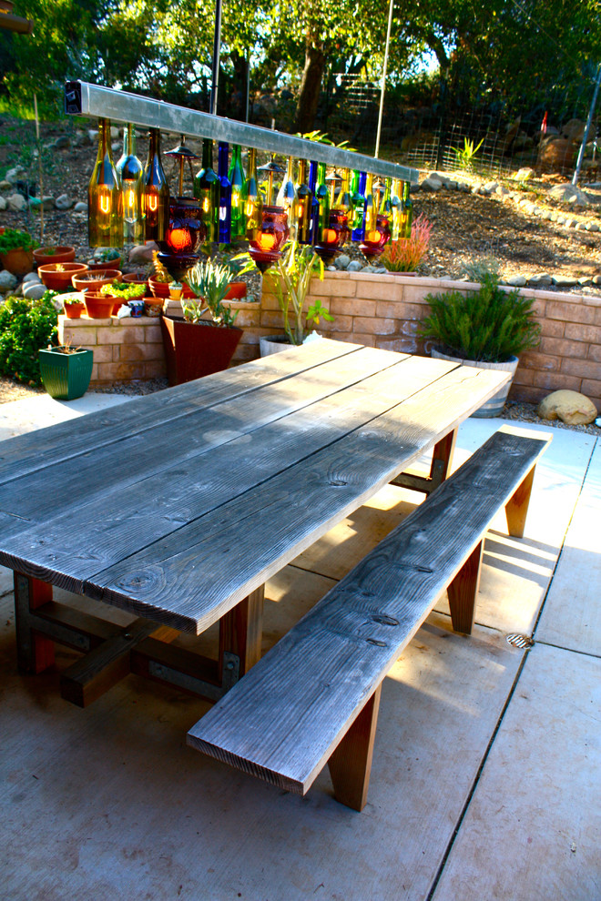 Wooden Picnic Tables Patio Eclectic with Bottle Lamp Concrete Patio Container Plants Outdoor Dining Patio Table Picnic Table