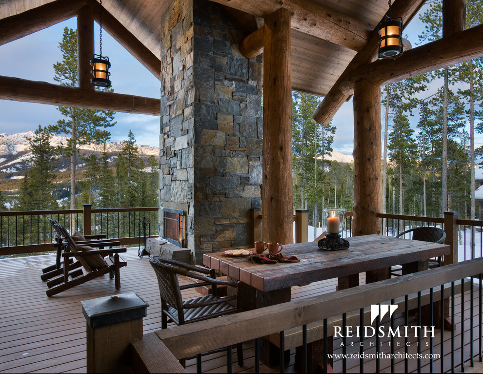 Wooden Picnic Tables Spaces Rustic with Covered Deck Fireplace Log Montana Outdoor Rustic Stone