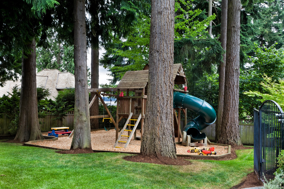 Wooden Playsets Kids Traditional with Grass Lawn Playhouse Sandbox Slide Swingset Trees Turf