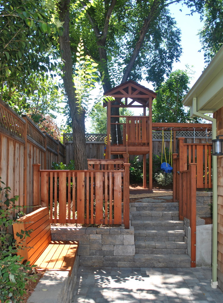 Wooden Playsets Landscape Traditional with Backyard Bench Seat Custom Woodwork Pavers Play Structure Playground Redwood Fence Shingle