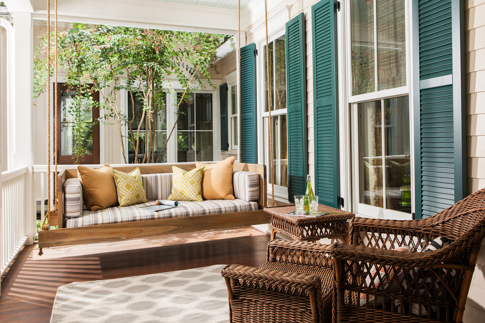 wooden porch swing Porch Traditional with bed contemporary day bed daybed green window shutters modern outdoor cushions outdoors