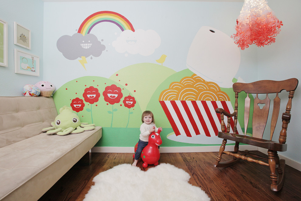 Wooden Rocking Chair Kids Transitional with Custom Mural Kids Room Mural Rainbow Rocking Chair Rocking Horse