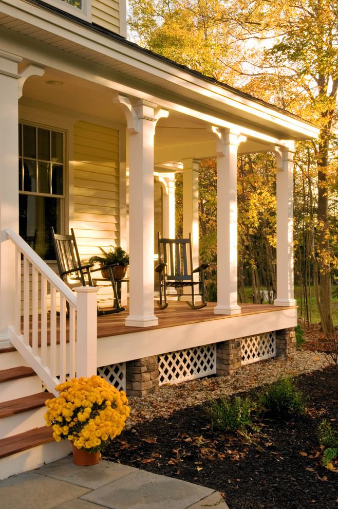 Wooden Rocking Chair Porch Traditional with None