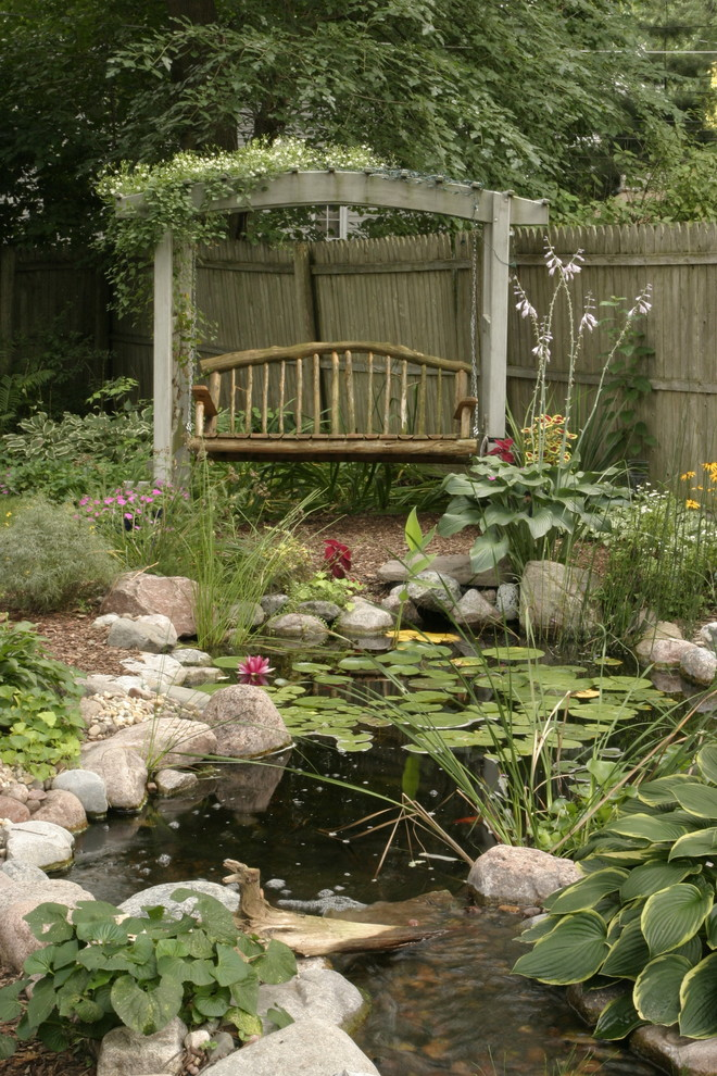 Wooden Swings Landscape Rustic with Aquatic Garden Arbor Lilies Natural Outdoor Seating Pond Rock Rustic Stream Swing