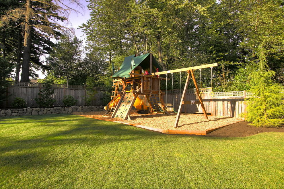 Wooden Swingsets Kids Traditional with Backyard Grass Lattice Lawn Mulch Planters Rock Wall Stone Wall Swing Sets