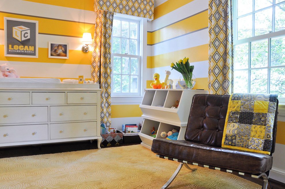 Wooden Toy Chest Nursery Contemporary with Bookcase Brown Leather Chair Crannies Graphic Art Gray Striped Wall Kids Room