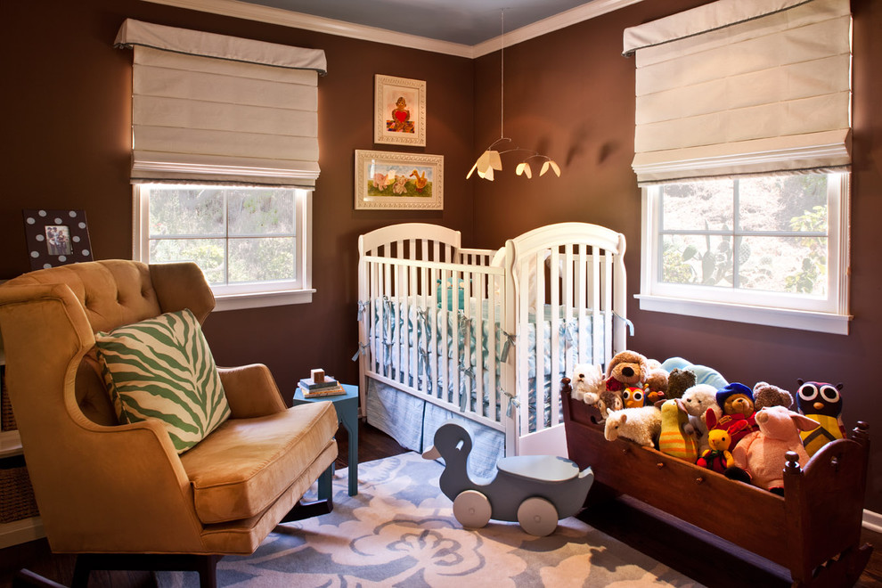 Wooden Toy Chest Nursery Transitional with Area Rug Blue and Brown Brown Walls Crib Dark Floor Decorative Pillows