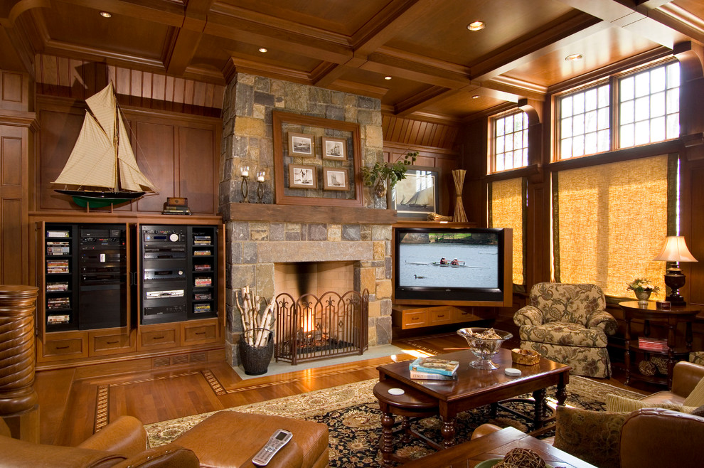 wooden tv trays Family Room Traditional with area rug built-in media center coffee table coffered ceiling framed photos ledge
