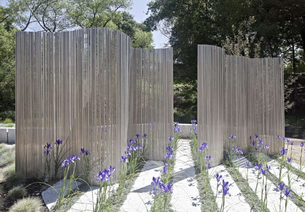 Wooden Wind Chimes Landscape Contemporary with Fencing Formal Geometric Linear Purple Flowers Row Plantings Screen Sculpture Undulate