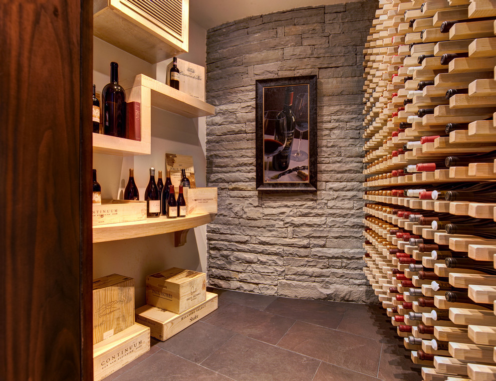 Wooden Wine Rack Wine Cellar Modern with Atlanta Basement Brick Wall Cablik Modern Home Open Shelf Shelf Tiled Floor