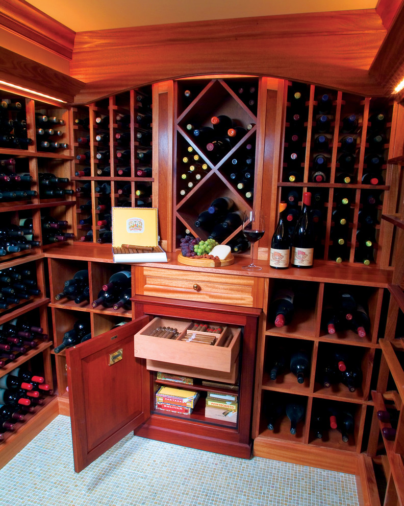 Wooden Wine Rack Wine Cellar Traditional with Cigar Storage Humidor Tile Floor Wine Rack Wine Storage
