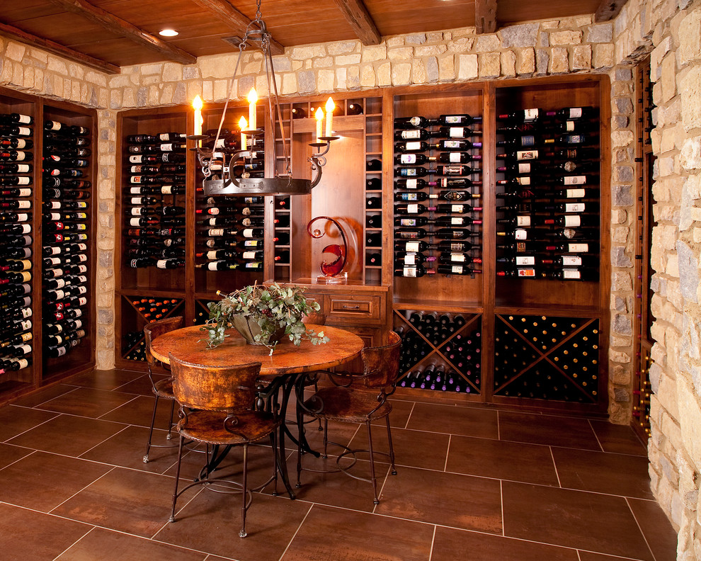Wooden Wine Rack Wine Cellar Traditional with European Horizontal Wine Rack Iron Lower Level Wine Cellar Round Table Stone