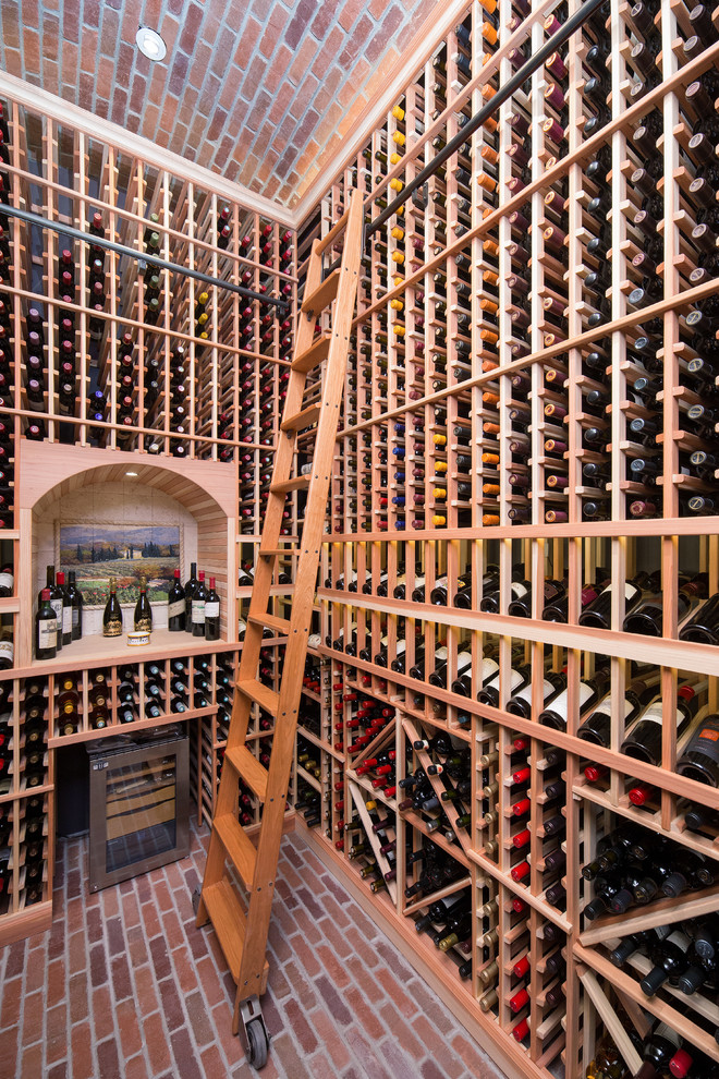 wooden wine racks Wine Cellar Traditional with brick Custom Wine Cellar humidor Paradise Valley redwood wine cellars rolling library