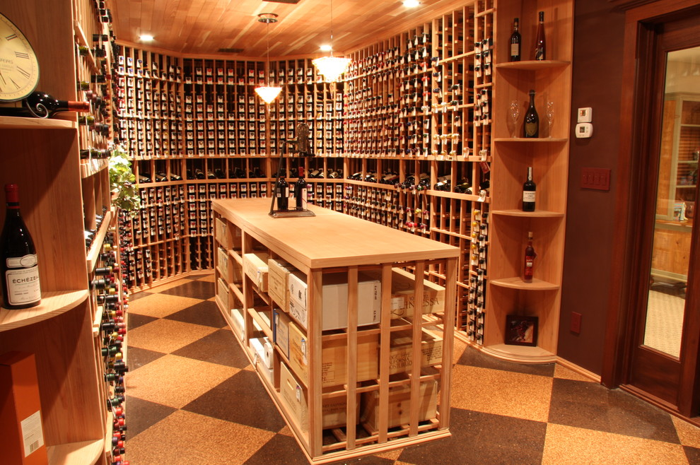 Wooden Wine Racks Wine Cellar Traditional with Island Open Shelves Pendant Lighting Stackable Wine Boxes Stackable Wine Shelves Unique