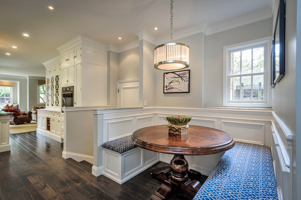 Workout Benches Kitchen Traditional With Blue Patterned Cushions Built In  Bench Built In Booth Dark Wood Dining Table Dark